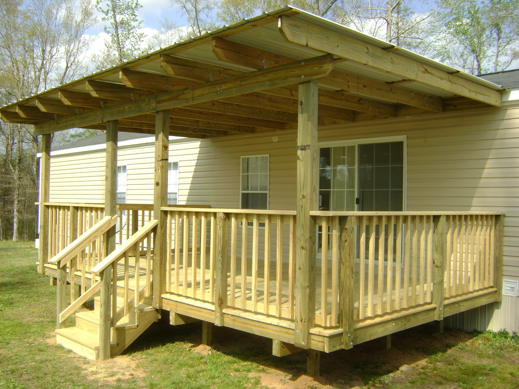 Mobile home porch roof ideas joy studio design gallery for Deck plans for mobile homes