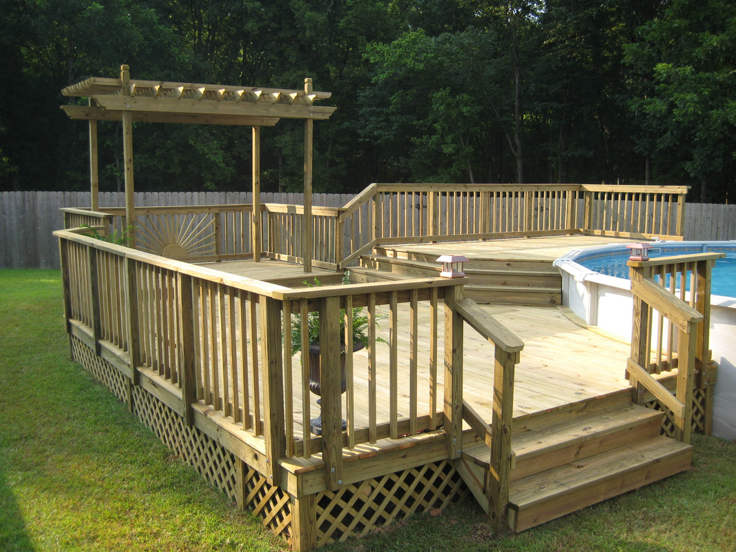 Deck builder garden structures pergolas arbors for Multi level deck above ground pool