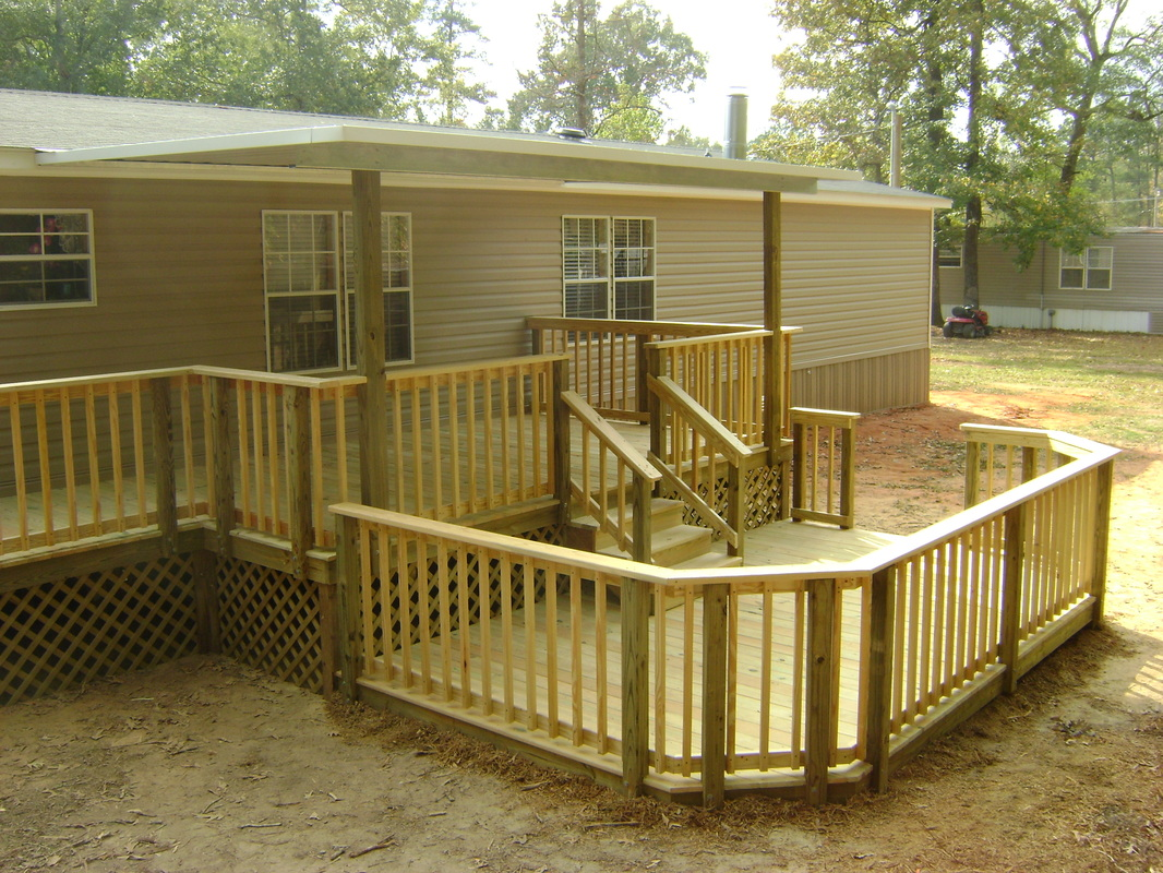 Covered wood deck on mobile home joy studio design for Deck plans for mobile homes