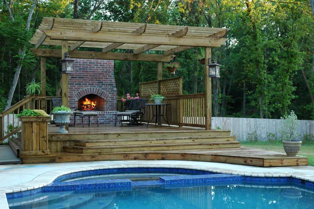Pools minden bossier city shreveport la sunset decks for Fireplace on raised deck