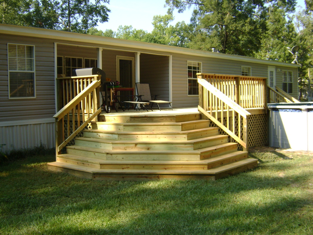 Covered wood deck on mobile home joy studio design for Wooden porches for mobile homes